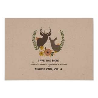 Fall Wedding Floral Deer Save The Date 9 Cm X 13 Cm Invitation Card