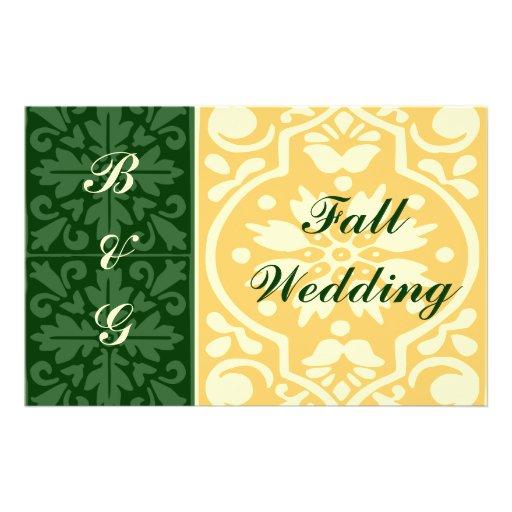 Fall Wedding Green Cream Flyer Template