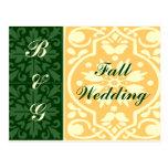 Fall Wedding Green Tan Monogram Custom Postcard