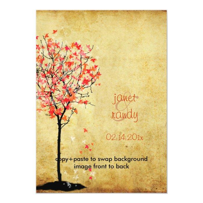 Fall wedding invitations/red maple leaves 13 cm x 18 cm invitation card
