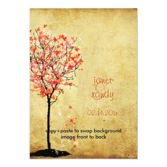 Fall wedding invitations/red maple leaves card