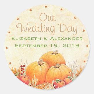 Fall Wedding Pumpkin Guest Favor Thank You Round Sticker