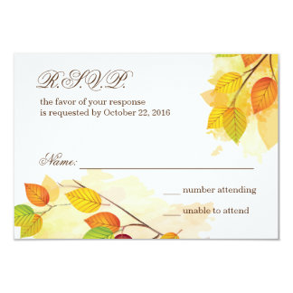 Fall Wedding Respond Card 9 Cm X 13 Cm Invitation Card
