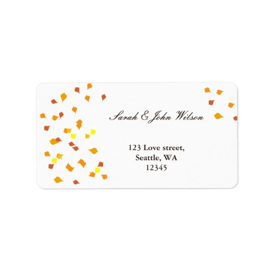 fall wedding ,return address label