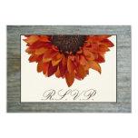 Fall Wedding RSVP - Sunflower & Barnwood 9 Cm X 13 Cm Invitation Card