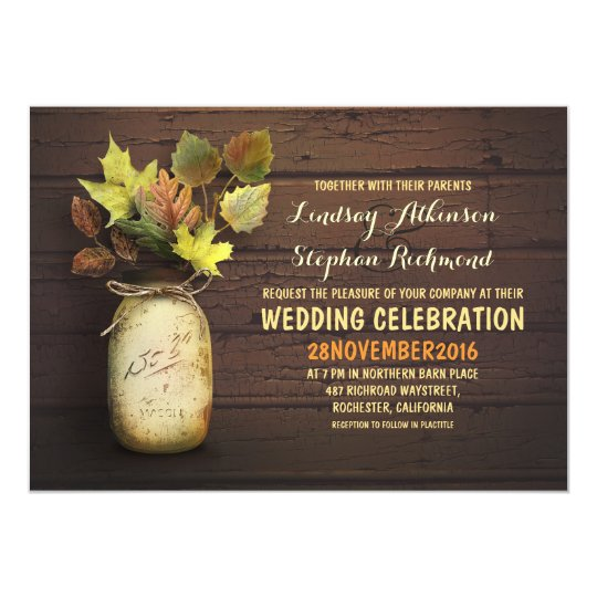 Fall wedding & rustic mason jar invitations