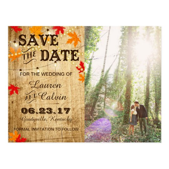 Fall wedding Save the Date for a rustic