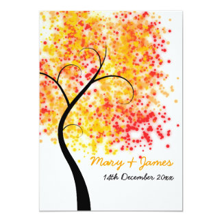 "Fall Wedding Swirly Tree ""Save The Date"" 13 Cm X 18 Cm Invitation Card"