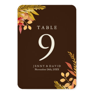 Fall Wedding Table Numbers 9 Cm X 13 Cm Invitation Card