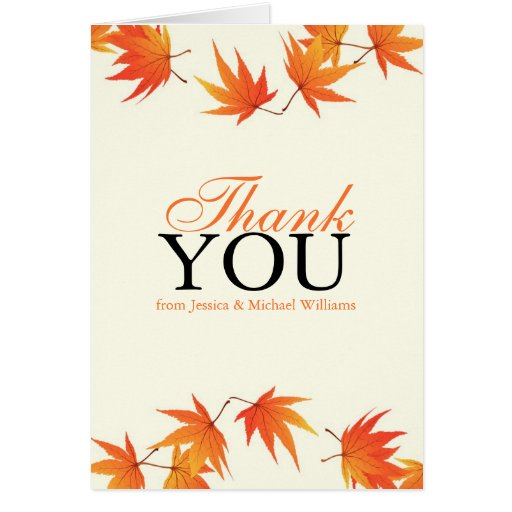 Fall Wedding Thank You Note Card