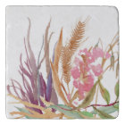 Fall Wheat and Rustic Floral Marble Stone Trivet