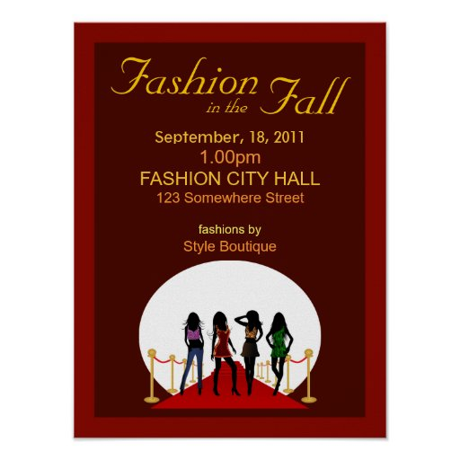 Fall Winter Fashion Show Designer Red Posters