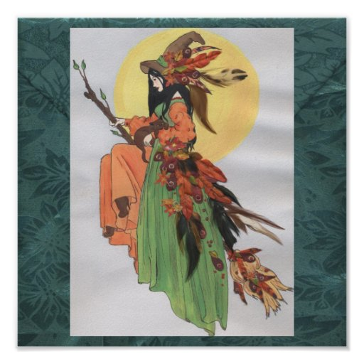 fall witch green background posters