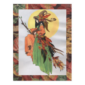 fall witch postcard