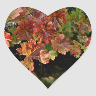 FALL WITH RED LEAVES REFLECTIONS HEART STICKER