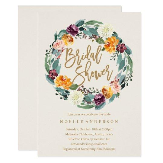 Fall Wreath Bridal Shower Invitation