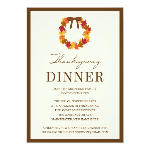 FALL WREATH IN BROWN   THANKSGIVING DINNER INVITE