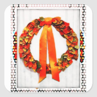 Fall Wreath Square Sticker