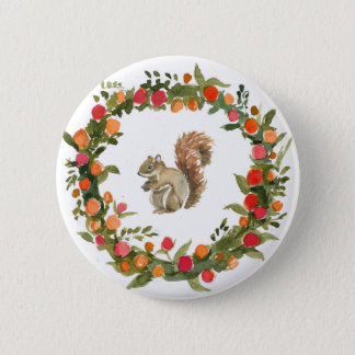 Fall wreath with squirrel watercolour 6 cm round badge