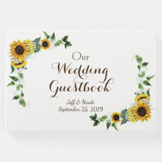 Fall Yellow Sunflower Rustic Barn Wedding Guest Book