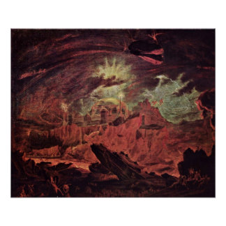 Fallen angels in Hell by John Martin Poster