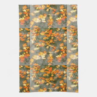 fallen autumn leaves in rain tea towel
