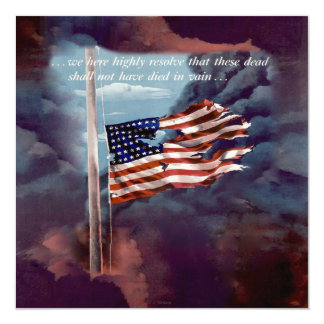 Fallen But Not Forgotten Smoke and Torn Flag 13 Cm X 13 Cm Square Invitation Card