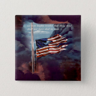 Fallen But Not Forgotten Smoke and Torn Flag 15 Cm Square Badge