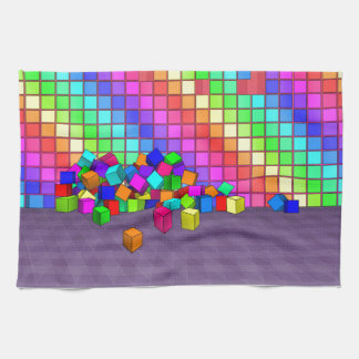 Fallen cubes 3D graphics design Hand Towels