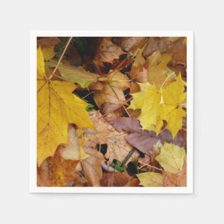 Fallen Maple Leaves Yellow Autumn Nature Disposable Serviette
