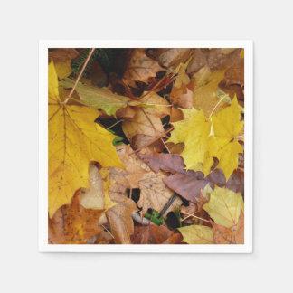 Fallen Maple Leaves Yellow Autumn Nature Disposable Serviettes