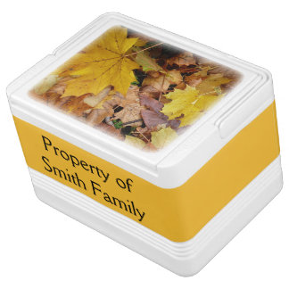 Fallen Maple Leaves Yellow Autumn Nature Igloo Cooler