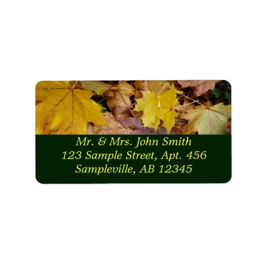 Fallen Maple Leaves Yellow Autumn Nature Label
