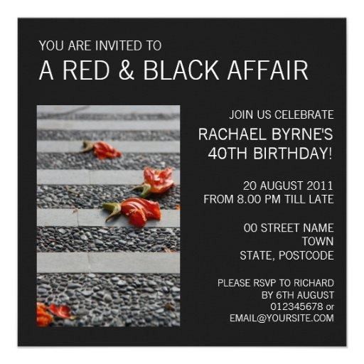 Fallen Petals grey Invitation