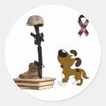 Fallen Soldier - Boots Mourns Round Sticker
