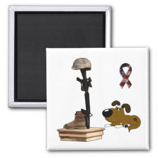 Fallen Soldier - Boots Mourns Square Magnet