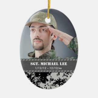 Fallen Soldier with black and white digital camo Christmas Ornament