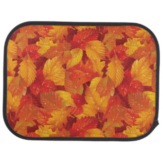 Fallen wet leaves. Autumnal background Car Mat