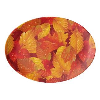 Fallen wet leaves. Autumnal background Porcelain Serving Platter