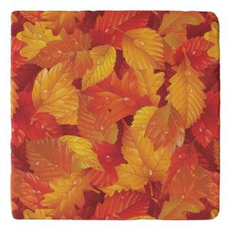 Fallen wet leaves. Autumnal background Trivet