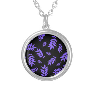 Falling Ash Leaves at Dusk Round Pendant Necklace