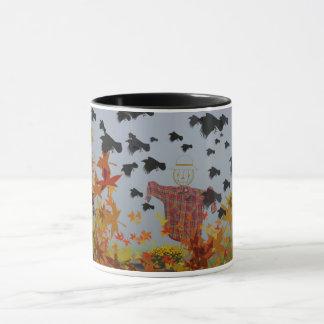 falling autumn leaves and crows mug! mug