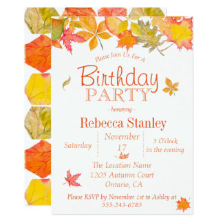 Falling Autumn Leaves Birthday Party Card