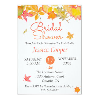 Falling Autumn Leaves Bridal Shower Card