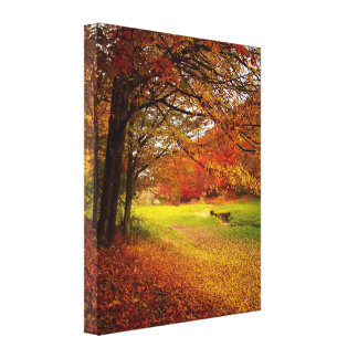 Falling Autumn Leaves on Walking Path Gallery Wrapped Canvas