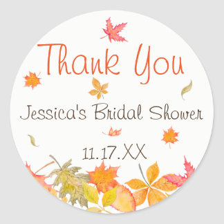 Falling Autumn Leaves Personalized Classic Round Sticker