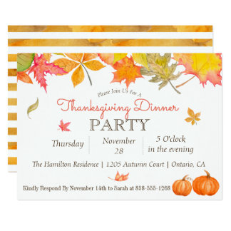 Falling Autumn Leaves Thanksgiving Dinner Party Card