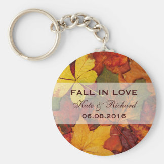 Falling Autumn Leaves Wedding Favour Keychain