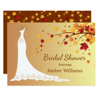 Falling autumn leaves, wedding gown Bridal Shower 11 Cm X 16 Cm Invitation Card