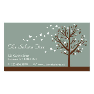 Falling Blossoms - Blue Business Card